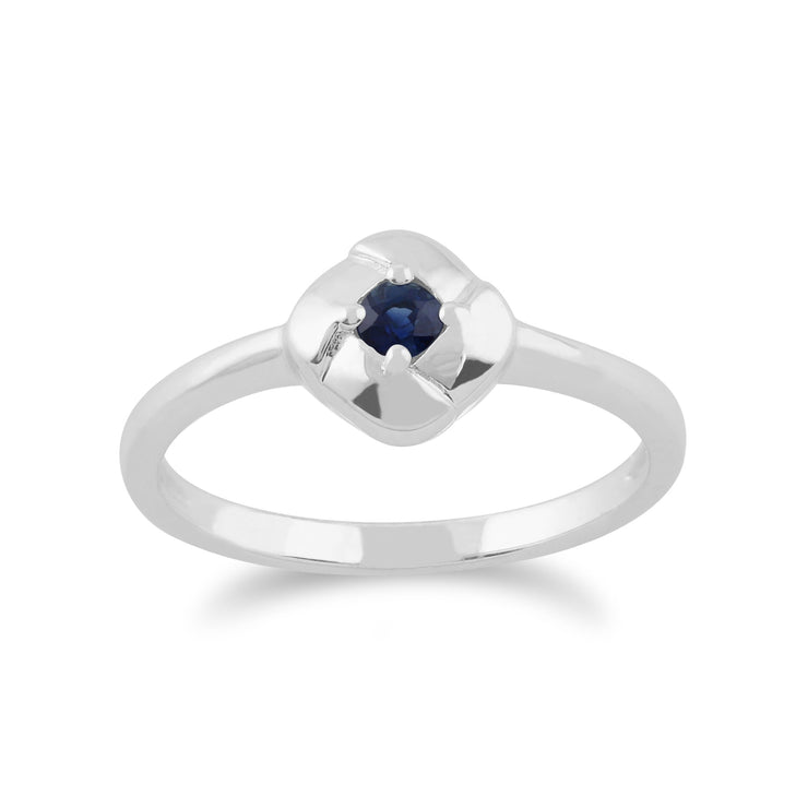 Gemondo 925 Sterling Silver 0.13ct Sapphire Square Crossover Ring Image 1