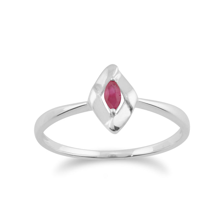 Gemondo 925 Sterling Silver 0.10ct Ruby Crossover Ring Image 1