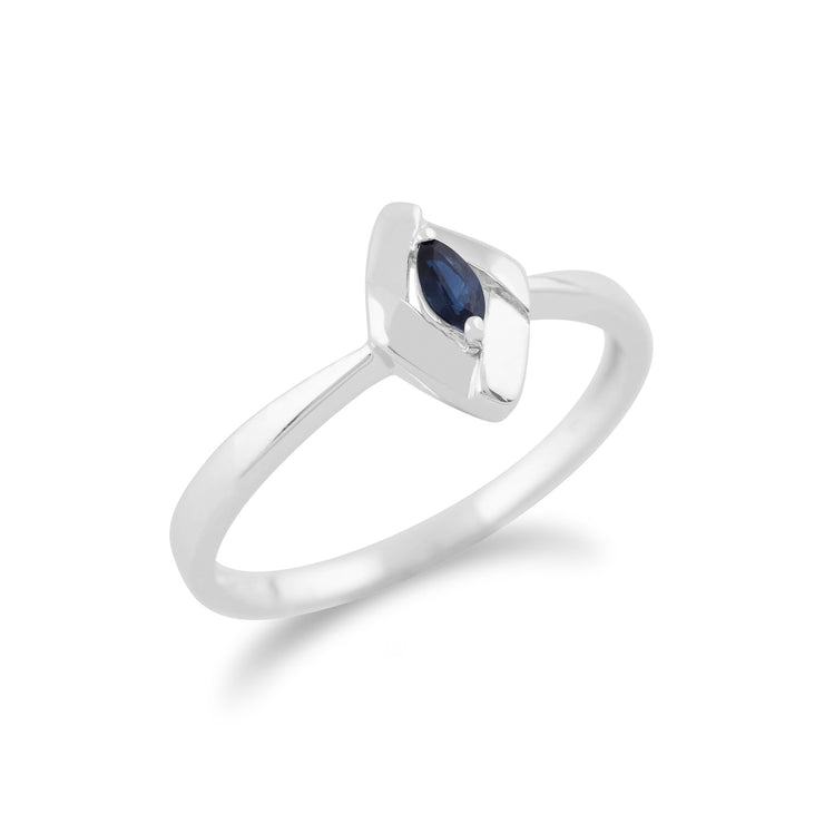 Gemondo 925 Sterling Silver 0.10ct Sapphire Crossover Ring Image 2