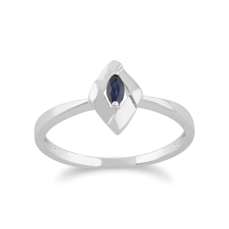 Gemondo 925 Sterling Silver 0.10ct Sapphire Crossover Ring Image 1