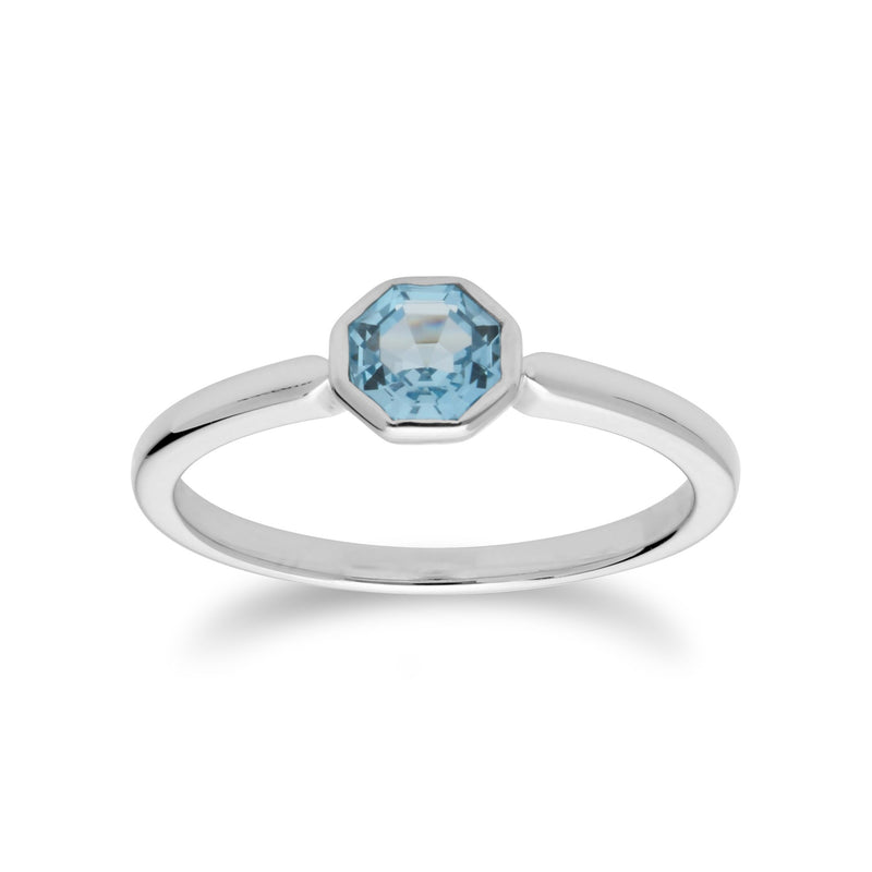 Geometric Hexagon Blue Topaz Ring Image 1