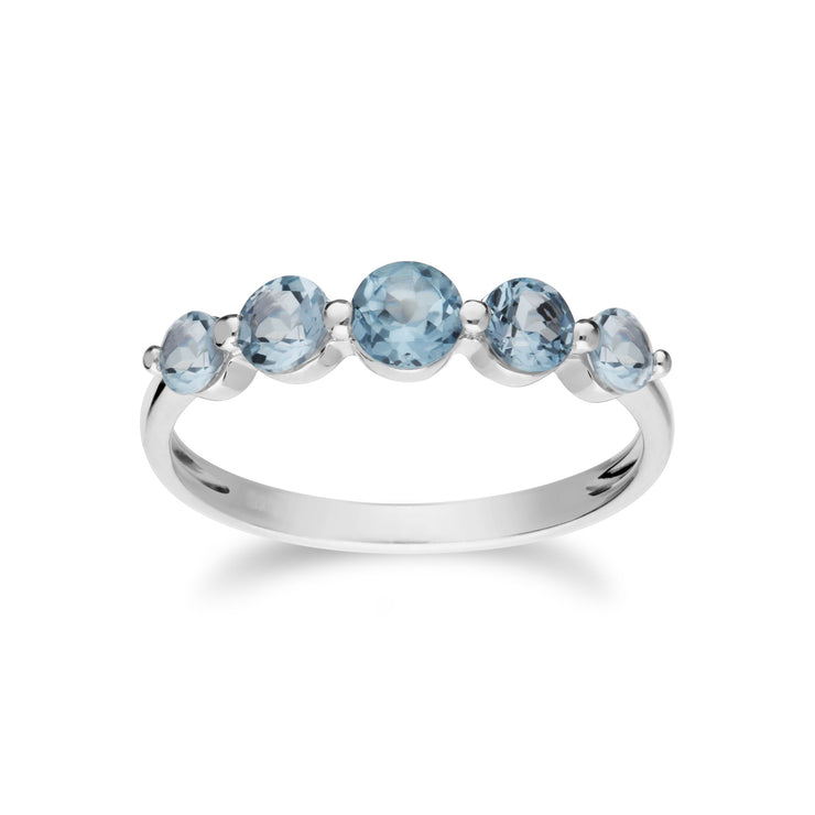 Essential Blue Topaz Five Stone Ring Image 1