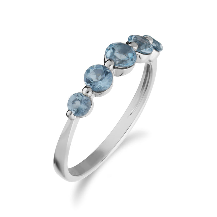Essential Blue Topaz Five Stone Ring Image 2