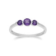 Essential Amethyst Three Stone Ring Image 1