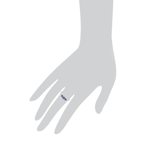 Essential Amethyst Three Stone Ring Image 3