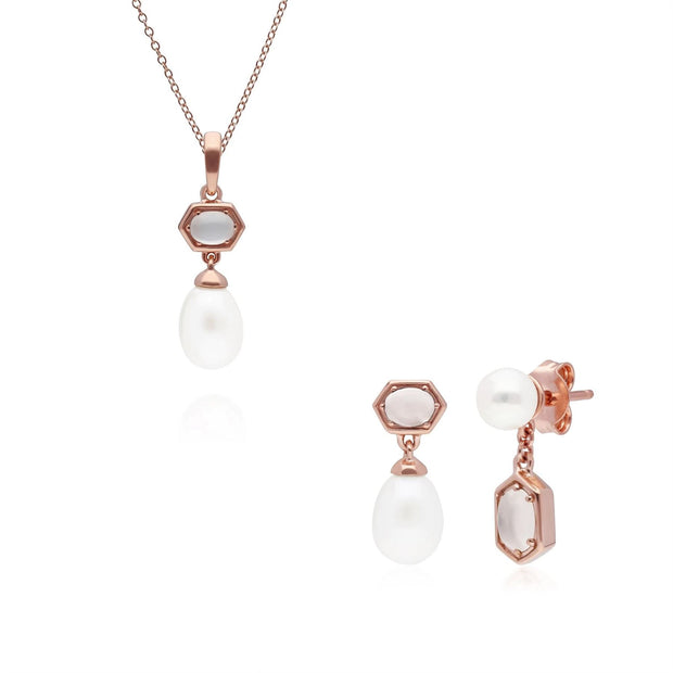 Modern Pearl & Moonstone Pendant & Earring Set in Rose Gold Plated Sterling Silver