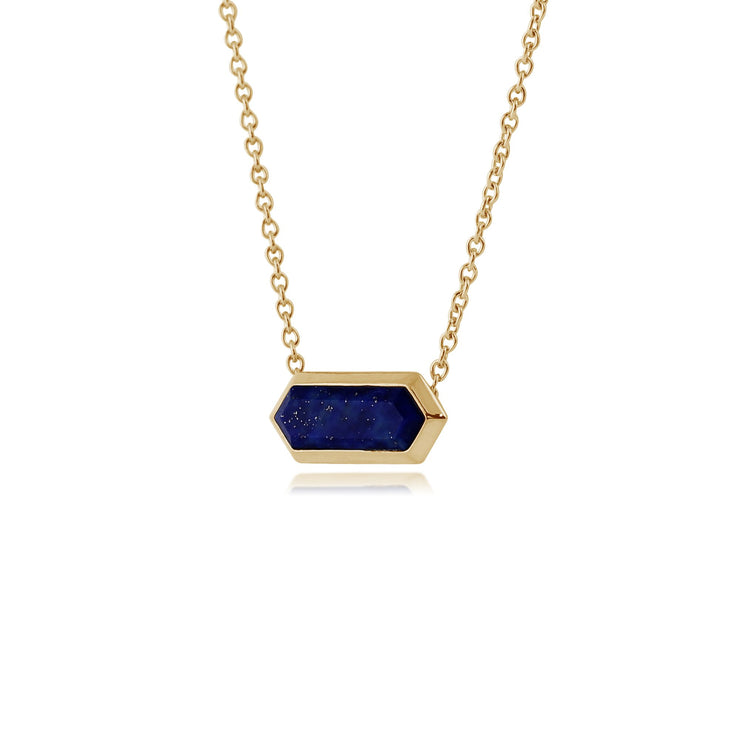 Geometric Hexagon Lapis Lazuli Bar Necklace Image 2