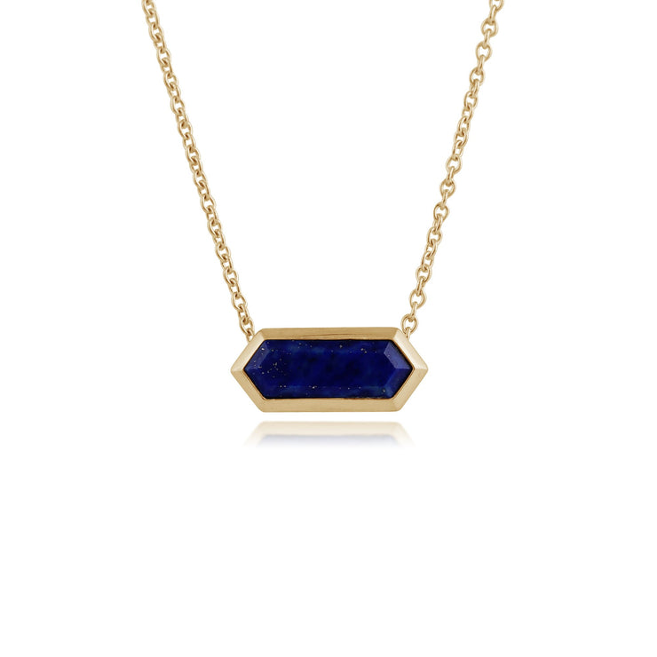 Geometric Hexagon Lapis Lazuli Bar Necklace Image 1