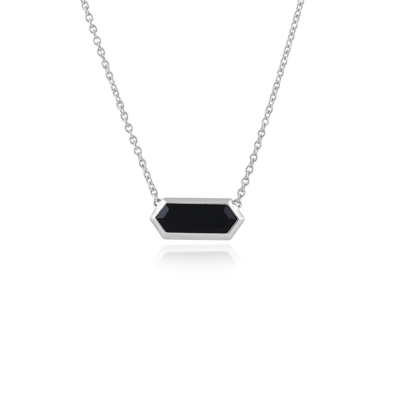 Geometric Black Onyx Hexagon Prism Necklace Image 1