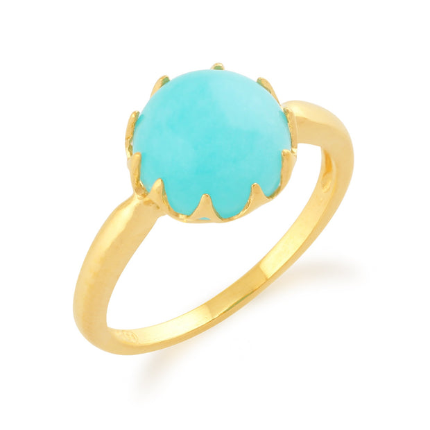 Amazonite 'Calo' Pastel Ring in 9ct Yellow Gold Plated Sterling Silver  Image 2