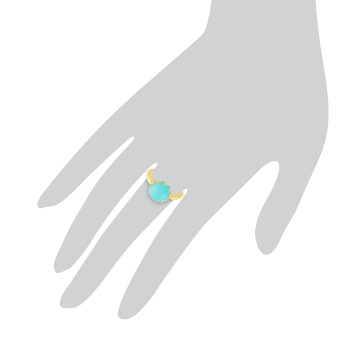 Amazonite 'Calo' Pastel Ring in 9ct Yellow Gold Plated Sterling Silver  Image 3