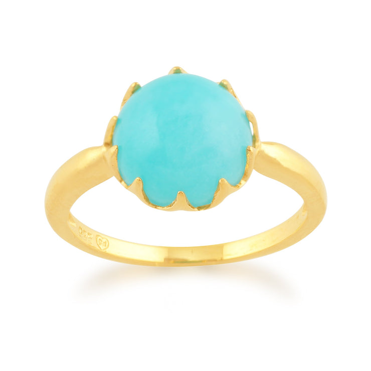 Amazonite 'Calo' Pastel Ring in 9ct Yellow Gold Plated Sterling Silver  Image 1