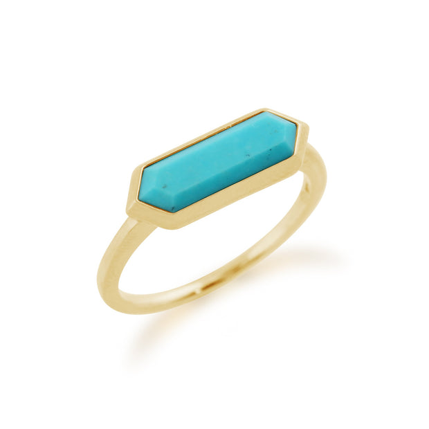 Gemondo 925 Gold Plated Sterling Silver 1.70ct Turquoise Hexagonal Prism Ring Image 2