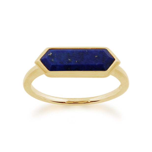 Geometric Lapis Lazuli Hexagon Prism Ring Image 1