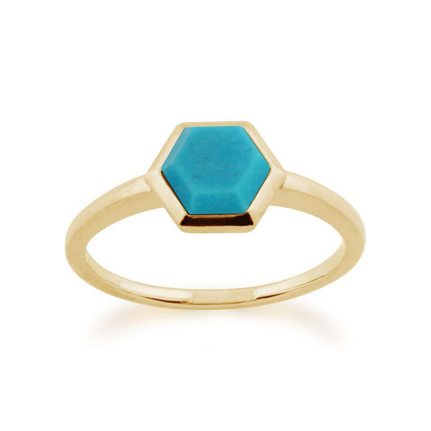 Gemondo 925 Gold Plated Sterling Silver 0.85ct Turquoise Hexagonal Prism Ring Image 1