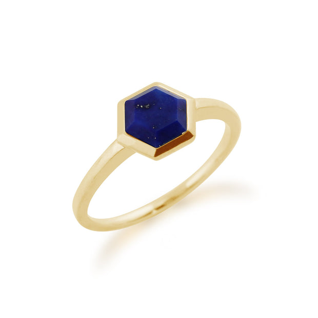 Geometric Lapis Lazuli Hexagon Ring Image 2