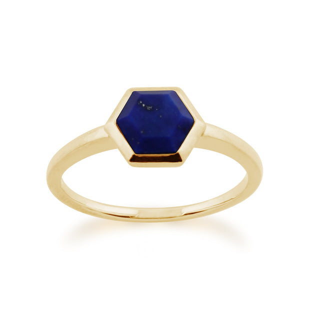 Geometric Lapis Lazuli Hexagon Ring Image 1