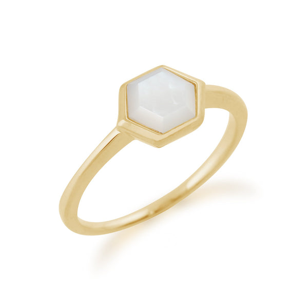 Gemondo Gold Plated Sterling Silver 1.1ct Mother of Pearl Hexagonal Prism Ring Image 2