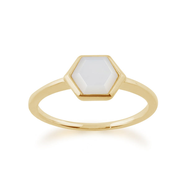 Gemondo Gold Plated Sterling Silver 1.1ct Mother of Pearl Hexagonal Prism Ring Image 1