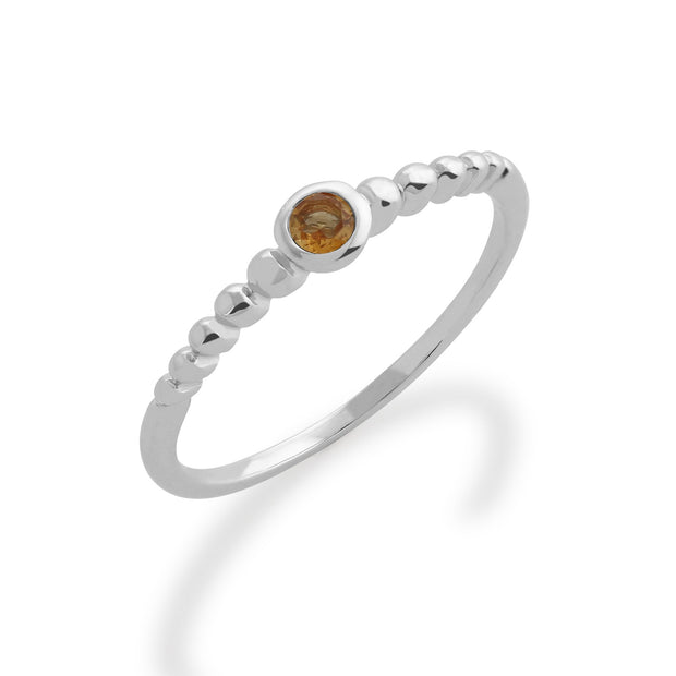 Gemondo 925 Sterling Silver 0.08ct Citrine Stackable Birthstone Ring Image 1