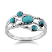 Contemporary Turquoise Five Stone Ring Image 2
