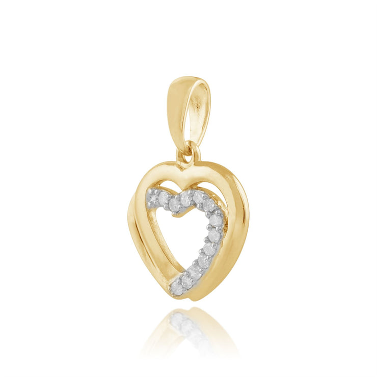 Gemondo 9ct Yellow Gold 0.06ct Diamond Hearts Pendant on Chain