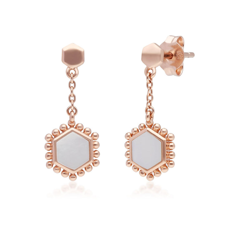 Mother of Pearl Slice Chain Drop Earrings in Rose Gold Plated Sterling Silver