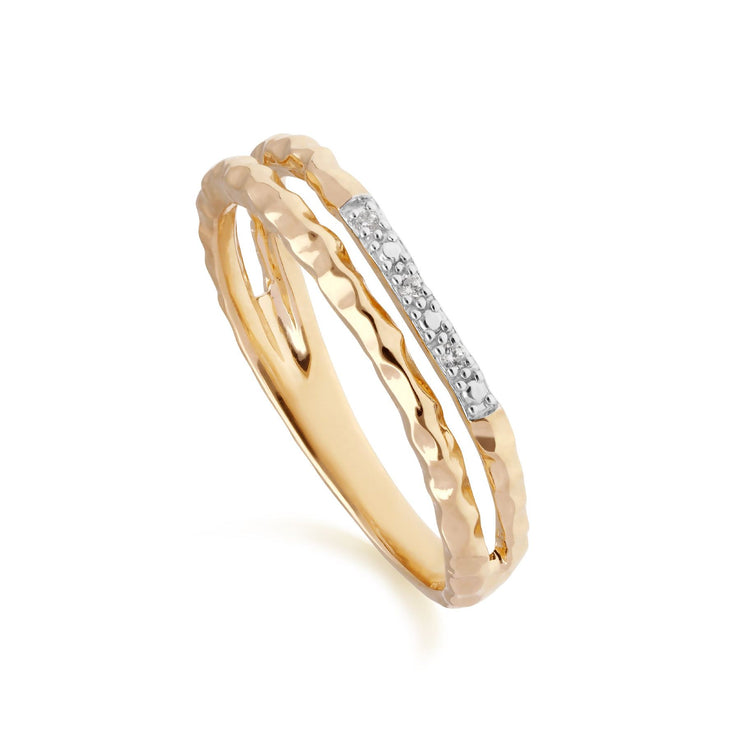 Diamond Pavé Hammered Double Band Ring in 9ct Yellow Gold