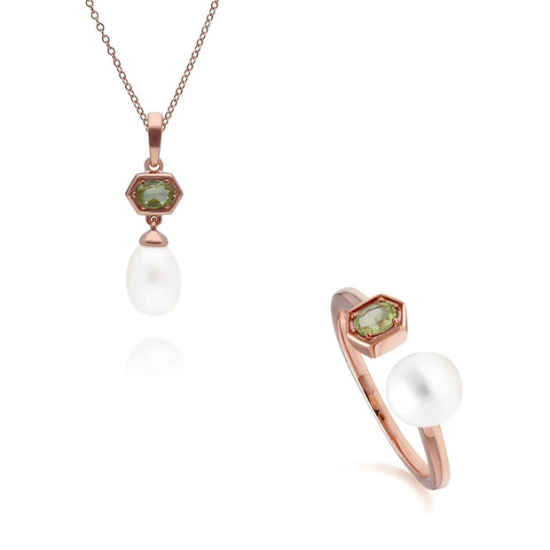 Modern Pearl & Peridot Pendant & Ring Set in Rose Gold Plated Sterling Silver