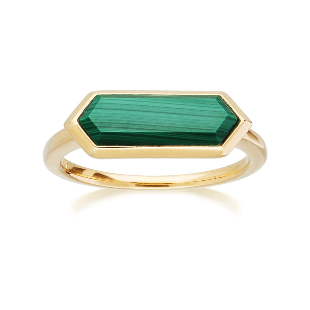 Geometric Hexagon Malachite Prism Ring in Gold Plated Sterling Silver
