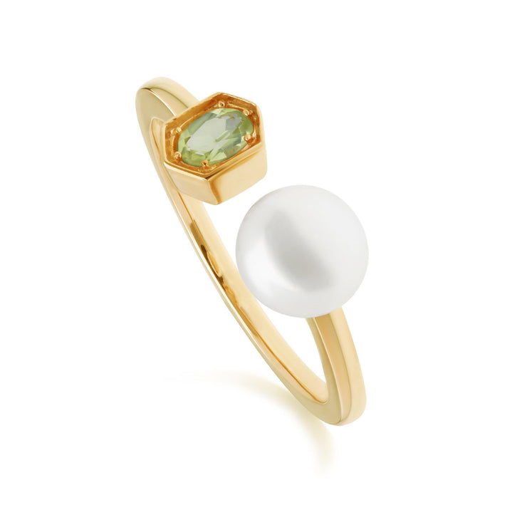 Modern Pearl & Peridot Open Ring in Gold Plated Sterling Silver