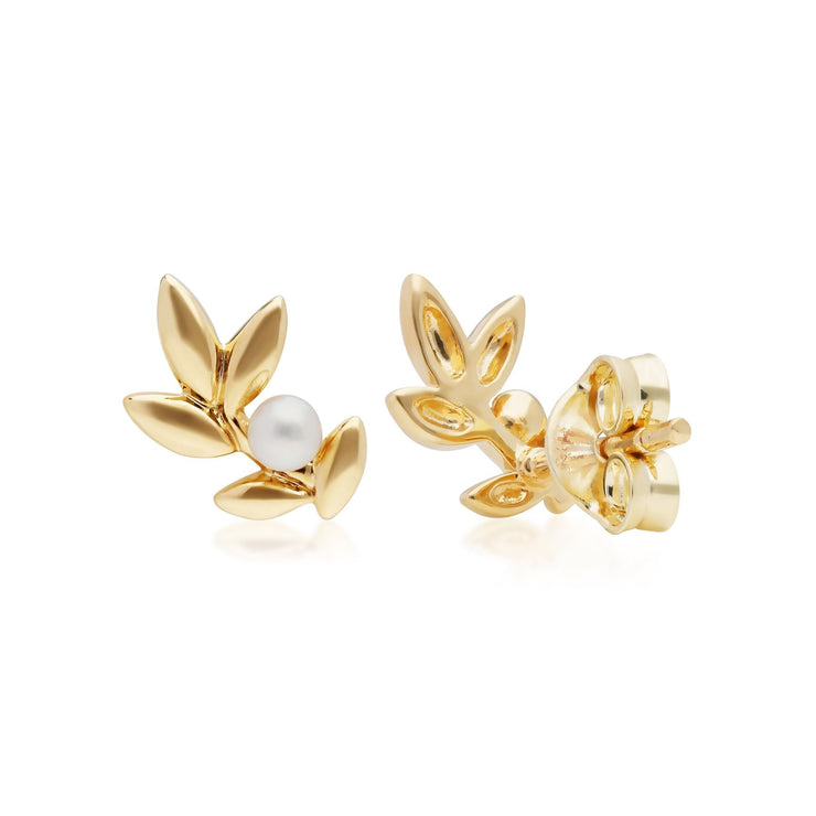O Leaf Pearl Stud Earrings in Gold Plated Sterling Silver