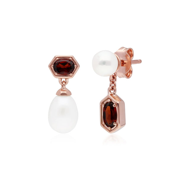 Modern Pearl & Garnet Mismatched Drop Earrings in Rose Gold Plated Sterling Silver