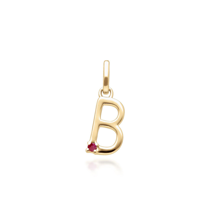 Initial B Ruby Letter Necklace in 9ct Yellow Gold