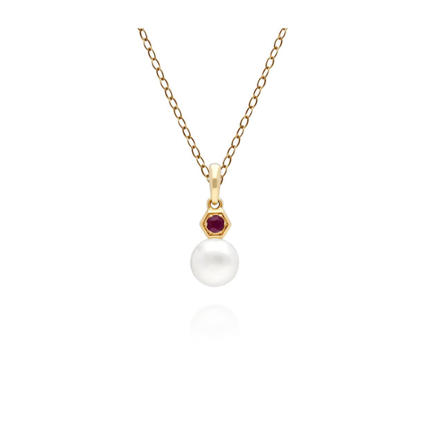 Modern Pearl & Ruby Pendant in 9ct Yellow Gold