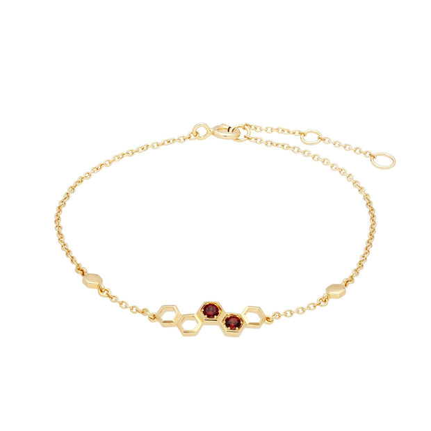 Honeycomb Inspired Garnet Link Bracelet in 9ct Yellow Gold