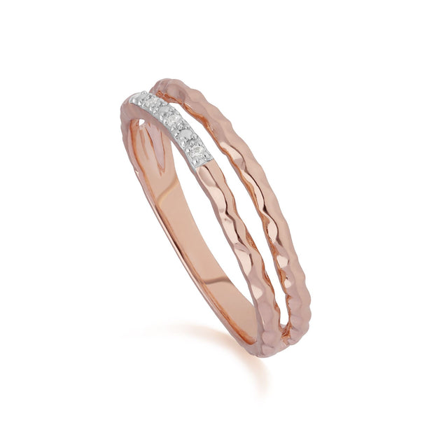 Diamond Pavé Double Ring Band in 9ct Rose Gold