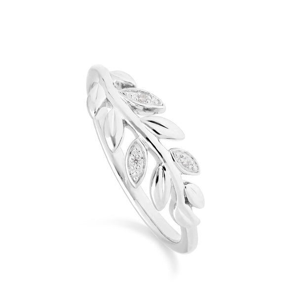 O Leaf Diamond Olive Branch Ring in 9ct White Gold