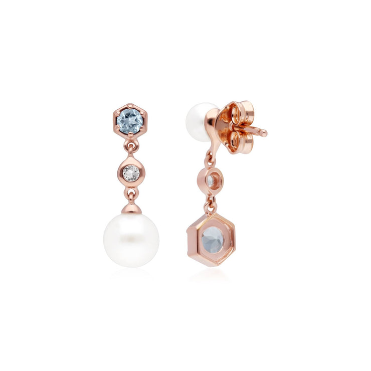 Modern Pearl, Aquamarine & Topaz Mismatched Drop Earrings in Rose Gold Plated Sterling Silver