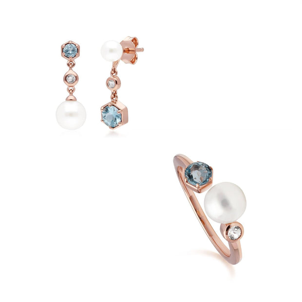Modern Pearl & Topaz Earring & Ring Set in Rose Gold Plated Sterling Silver