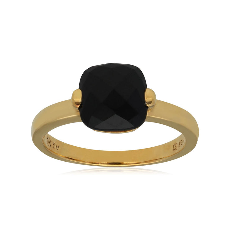 Kosmos Black Spinell Cocktail Ring in Yellow Gold Plated Sterling Silver
