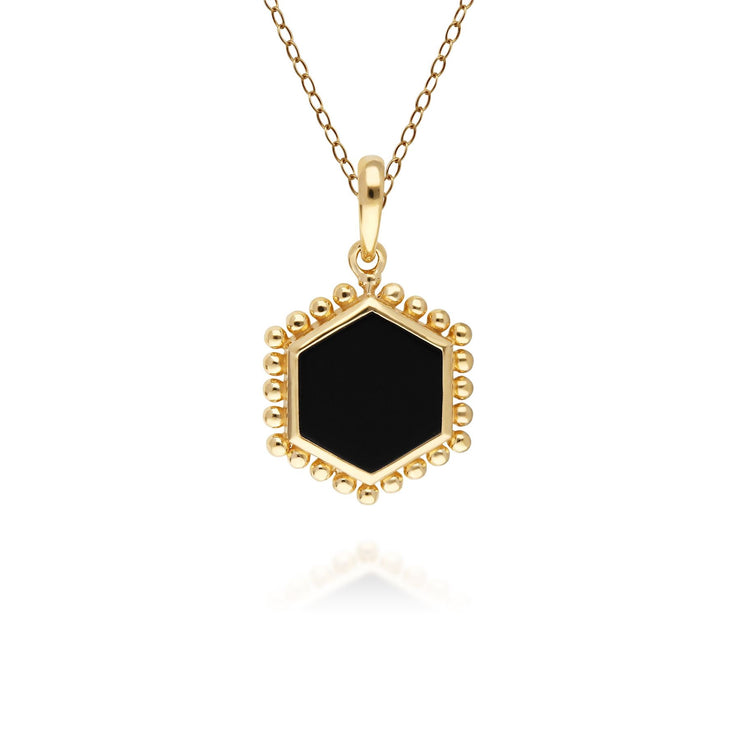Black Onyx Flat Slice Hex Pendant in Gold Plated Sterling Silver
