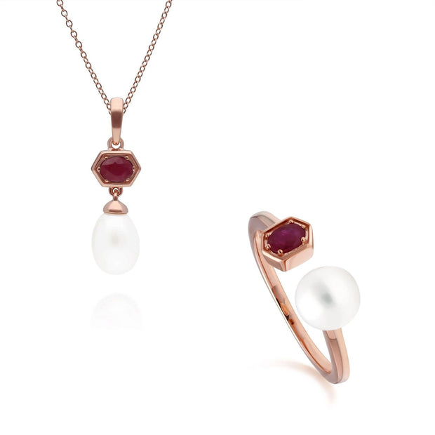 Modern Pearl & Ruby Pendant & Ring Set in Rose Gold Plated Sterling Silver