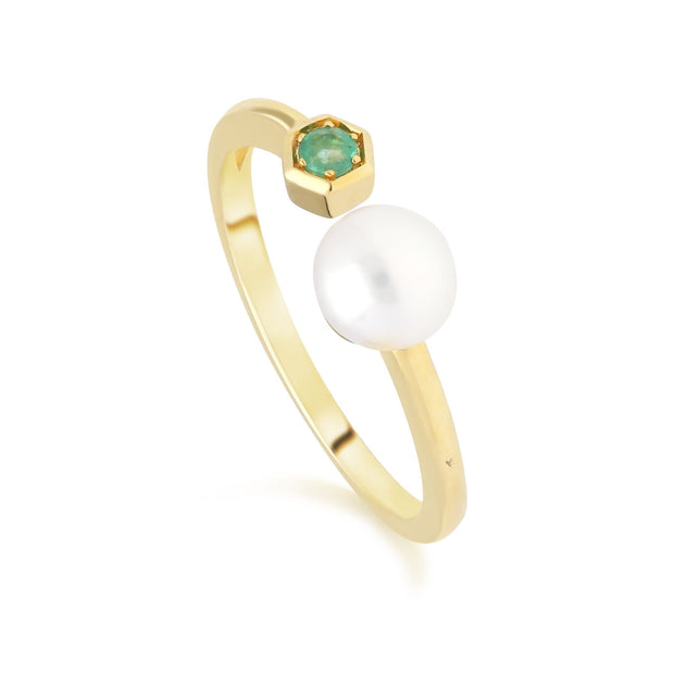Modern Pearl & Emerald Open Ring in 9ct Yellow Gold