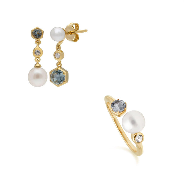 Modern Pearl, Topaz & Aquamarine Ring & Earring Set in Gold Plated Sterling Silver