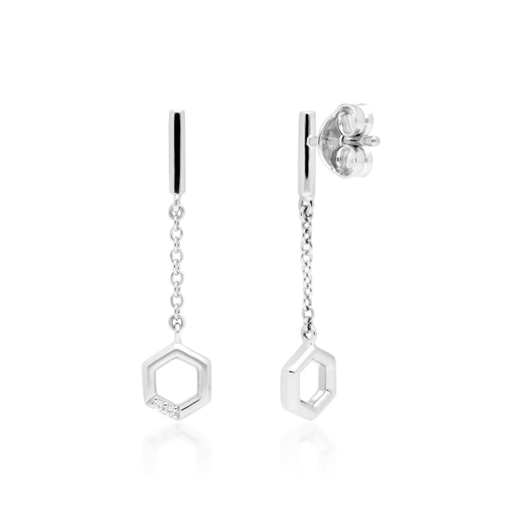 Diamond Pave Hexagon Dangle Drop Earrings in 9ct White Gold