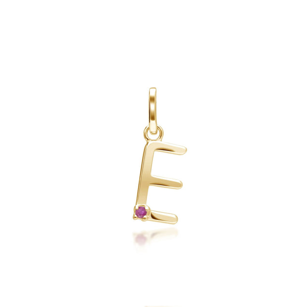 Initial E Ruby Letter Charm in 9ct Yellow Gold