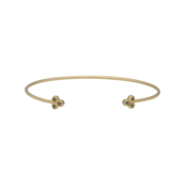 Sapphire Trilogy Geometric Bangle in 9ct Yellow Gold