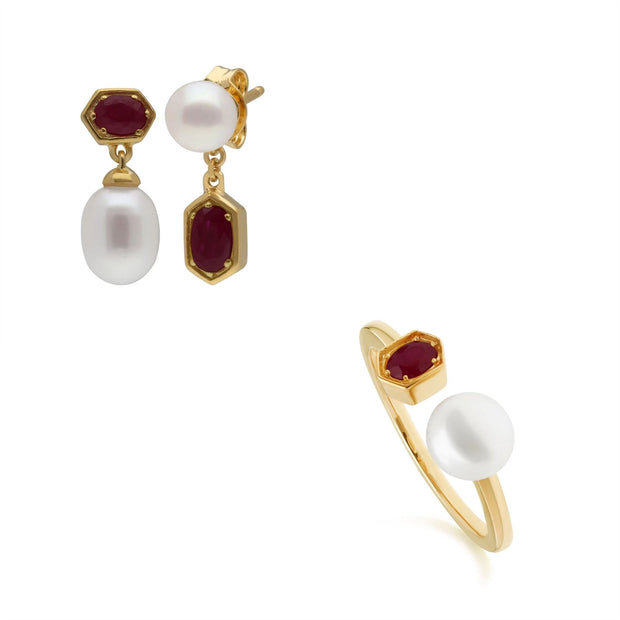Modern Pearl & Ruby Ring & Earring Set in Gold Plated Sterling Silver