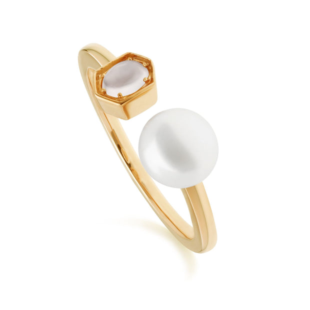 Modern Pearl, Moonstone & White Topaz Open Ring in Rose Gold Plated Sterling Silver